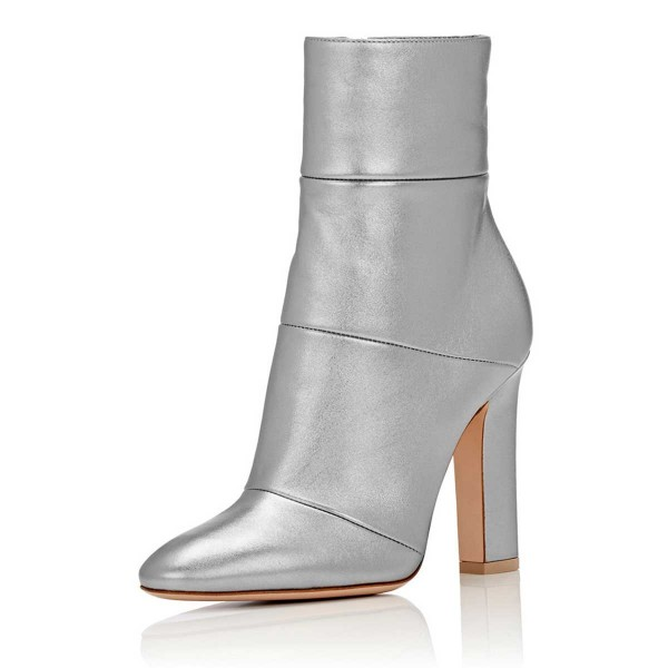 Silver Shiny Vegan Boots Chunky Heel Work Booties for Office Ladies image 1