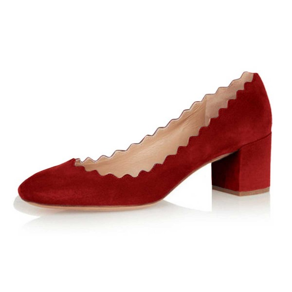 Red Chunky Heels Suede Round Toe Pumps for Female image 1