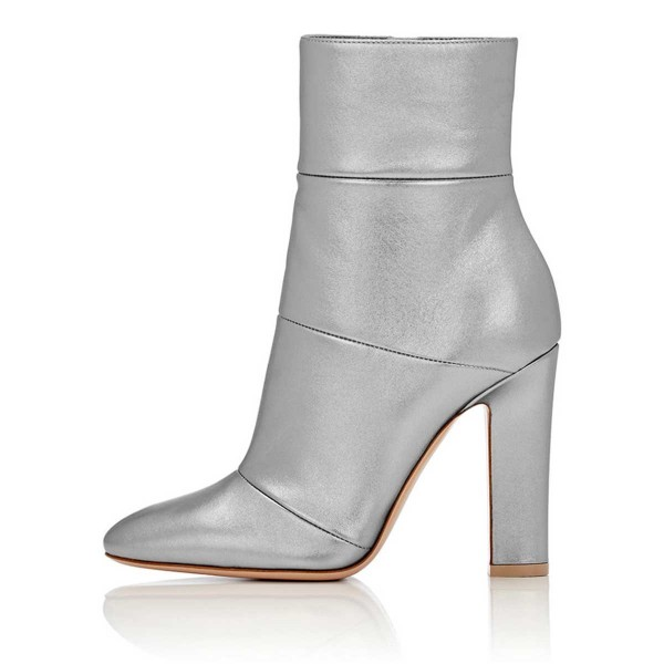 Silver Shiny Vegan Boots Chunky Heel Work Booties for Office Ladies image 3