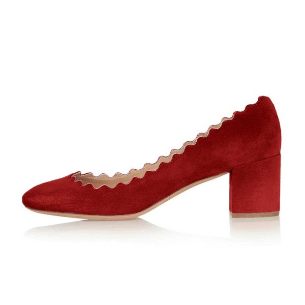 Red Chunky Heels Suede Round Toe Pumps for Female image 3