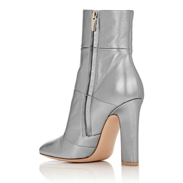 Silver Shiny Vegan Boots Chunky Heel Work Booties for Office Ladies image 2