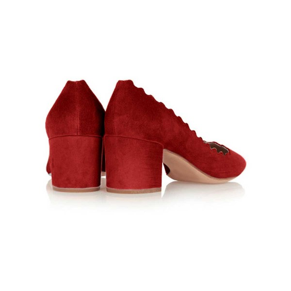 Red Chunky Heels Suede Round Toe Pumps for Female image 2