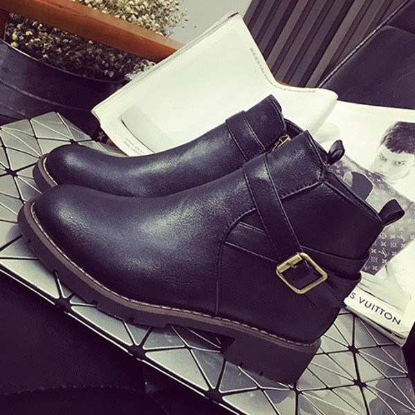 Black Vintage Boots Round Toe Wear-resistant Ankle Boots image 2
