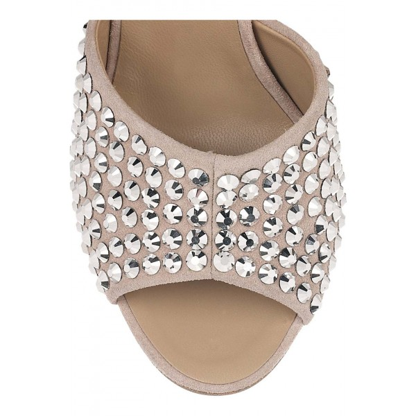 Beige Wedding Sandals Peep Toe Ankle Strap Studded Chunky Heels image 3