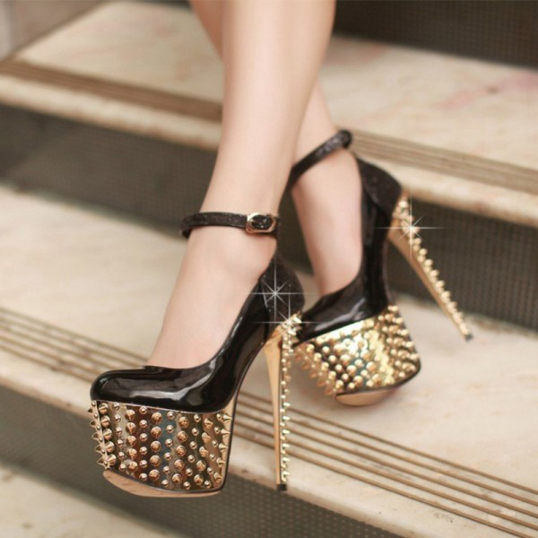 Black and Golden Platform Heels Rivets Stiletto Heel Stripper Shoes image 1