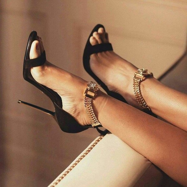 Black and Gold Chains Evening Shoes Sexy Stiletto Heels Sandals image 1