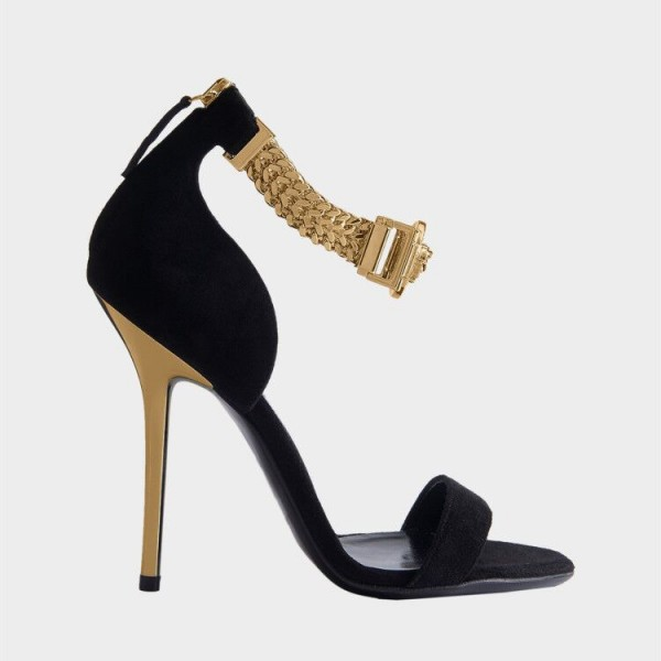 Black and Gold Chains Evening Shoes Sexy Stiletto Heels Sandals image 2