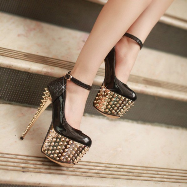 Black and Golden Platform Heels Rivets Stiletto Heel Stripper Shoes image 4