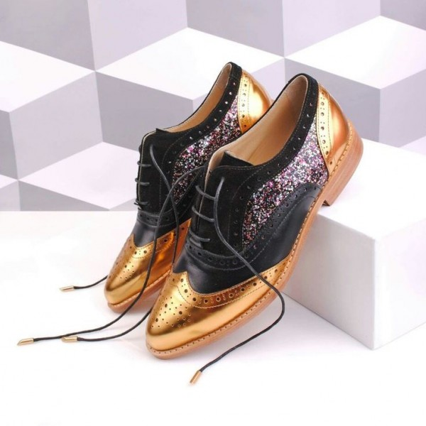 100% high quality best choice online for sale Black and Gold Two Tone Wingtip Glitter Women's Oxfords Lace up Flats