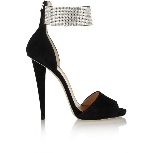 f2d6f61afd6 ... Black and Silver Ankle Strap Sandals Peep Toe Heels Sequined Sandals  image 2 ...