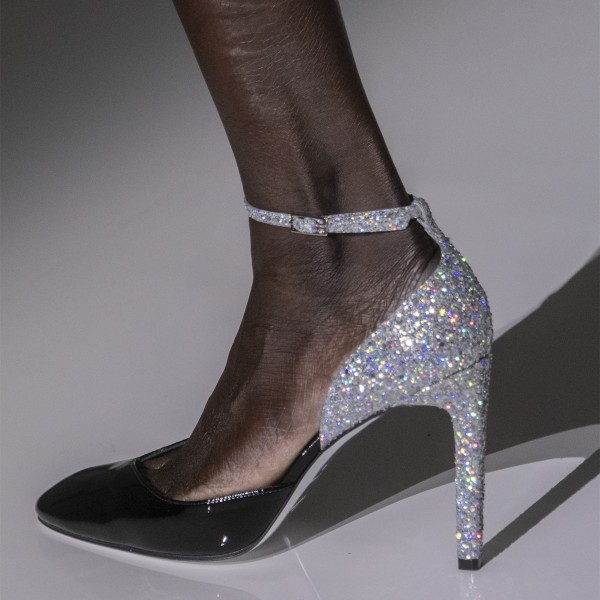 Black and Silver Glitter Shoes Patent Leather Ankle Strap Pumps  image 1