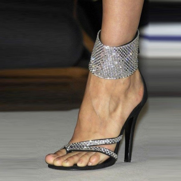 Rhinestone Evening Shoes Ankle Strap Sandals Prom Shoes image 1