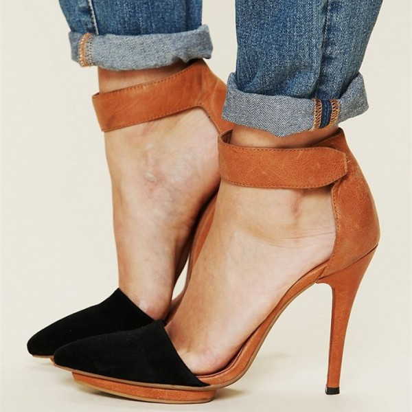 Black and Tan Closed Toe Sandals Ankle