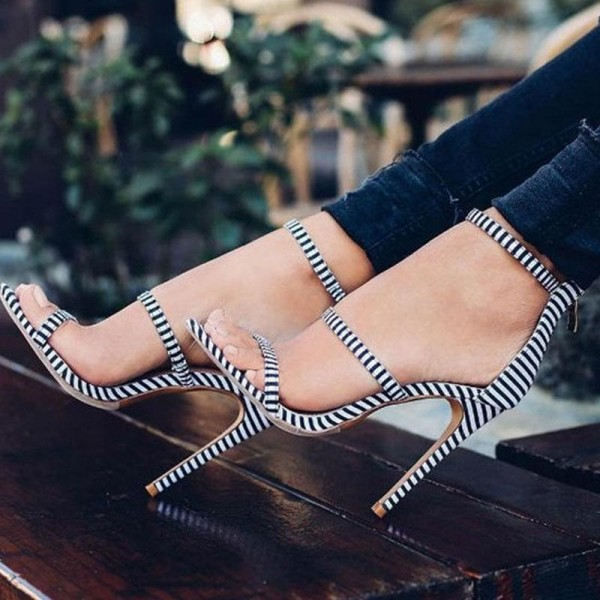 Black and White Heels Open Toe Stiletto Heels Ankle Sandals image 1