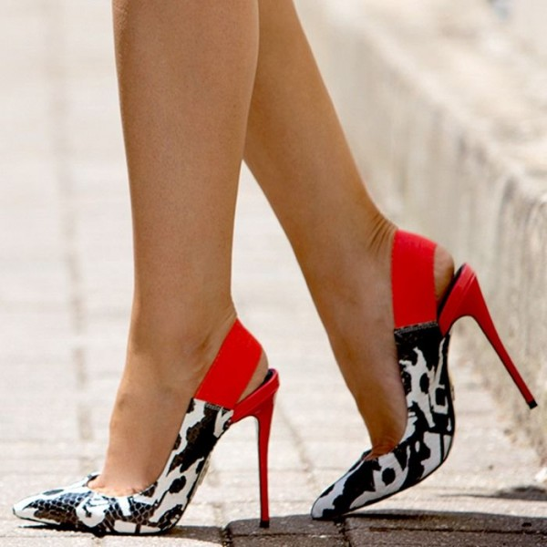 Black and White Heels Python Pointy Toe Slingback High Heel Pumps image 1