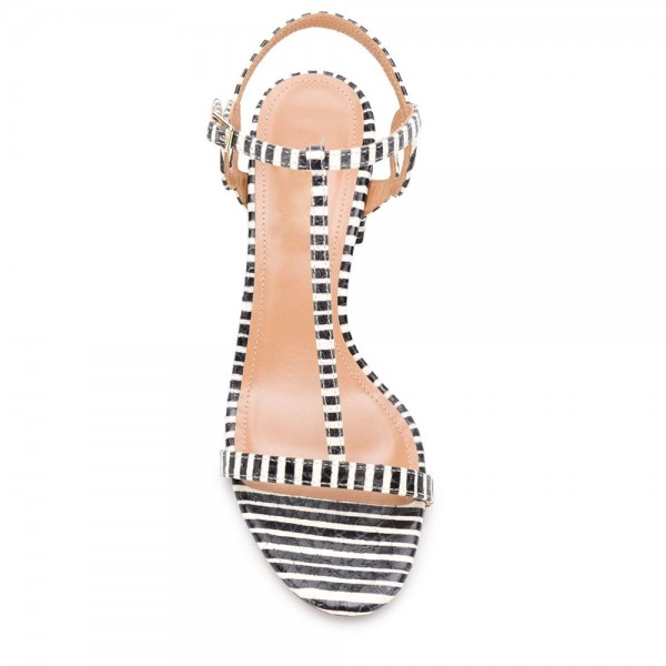 Black and White Stripe Block Heel T Strap Sandals  image 3