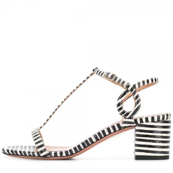 Black and White Stripe Block Heel T Strap Sandals  image 2