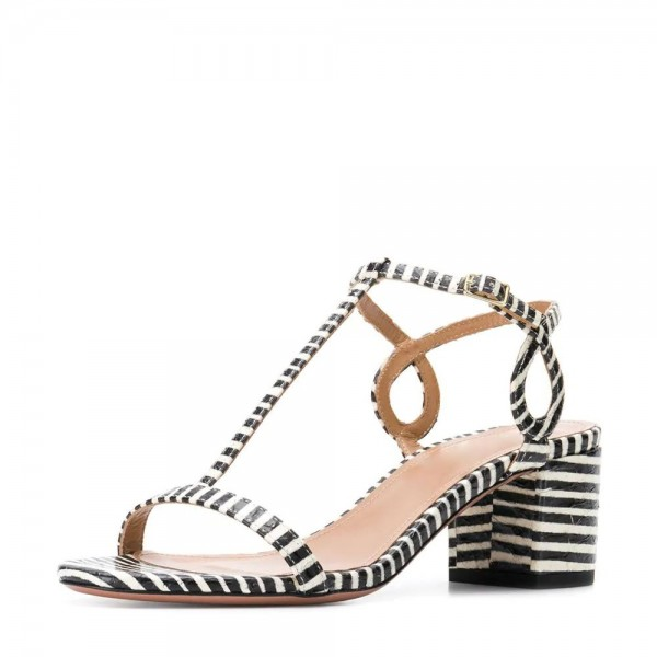 Black and White Stripe Block Heel T Strap Sandals  image 1