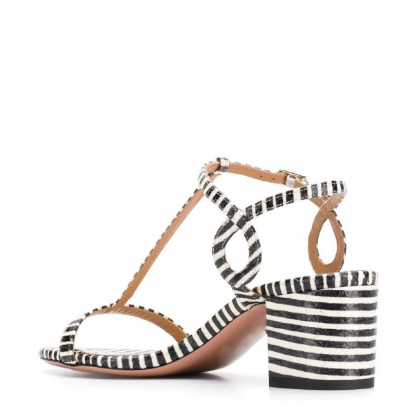 Black and White Stripe Block Heel T Strap Sandals  image 4
