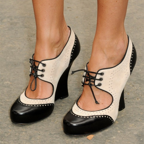 Black and Ivory Oxford Heels Cut out Lace up Vintage Shoes image 1
