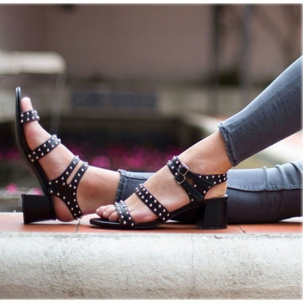 Black Block Heel Sandals Slingback Heels Sandals with Studs image 1