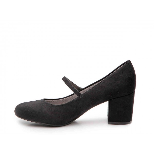 Black Block Heels Mary Jane Shoes Round Toe Pumps for Office Lady image 3