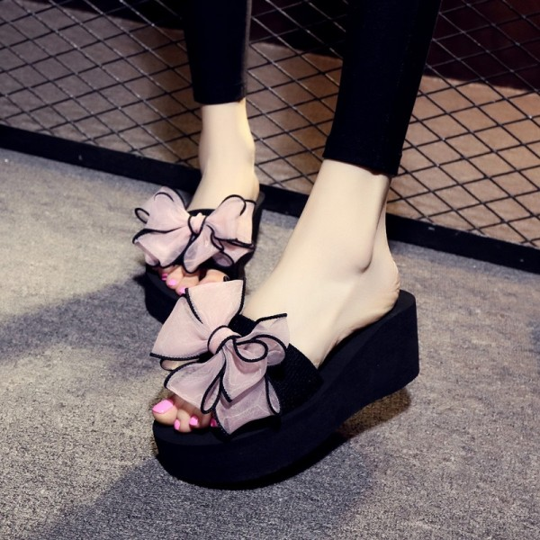 Black Platform Women's Slide Sandals Open Toe Pink Bow Slides Shoes image 1