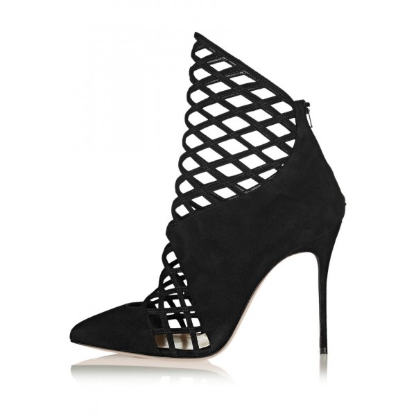 Black Caged Cut out Ankle Booties Pointy Toe Stilettos Summer Boots image 4