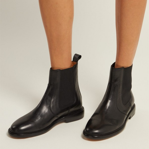 Black Chelsea Boots Flat Ankle Boots image 1