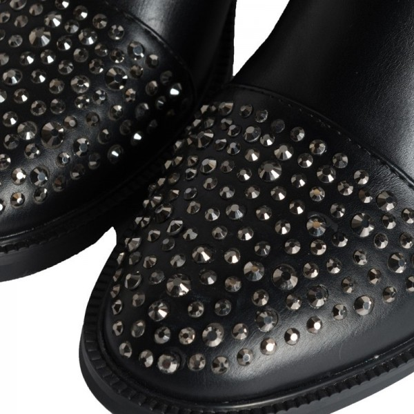 Black Chelsea Boots Rhinestone Ankle Boots image 5
