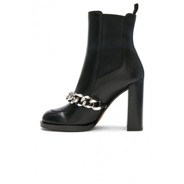 Black Chelsea Boots Round Toe Metal Chains Chunky Heels Ankle Boots image 3