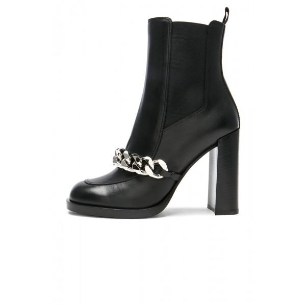 Black Chelsea Boots Round Toe Metal Chains Chunky Heels Ankle Boots image 2