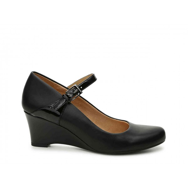 Black Commuting Wedge Heels Mary Jane Shoes for Office Lady image 3