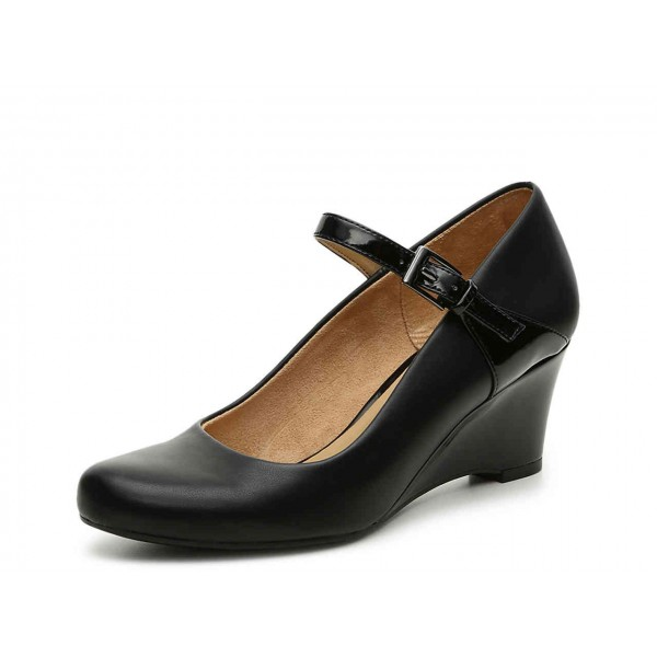 Black Commuting Wedge Heels Mary Jane Shoes for Office Lady image 1