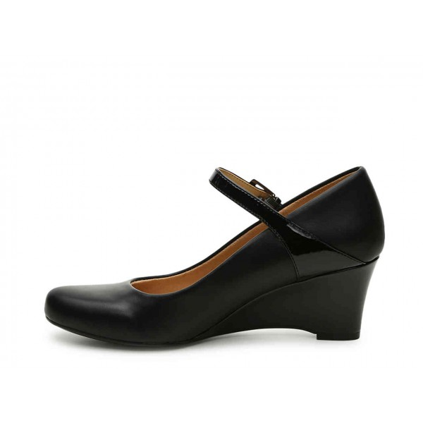 Black Commuting Wedge Heels Mary Jane Shoes for Office Lady image 2
