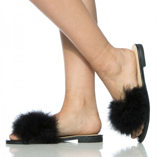 Black Furry Women's Slide Sandals Open Toe Flats image 3