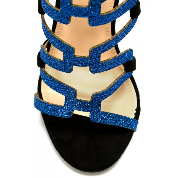 Black Gladiator Sandals Blue Glitter Open Toe Stiletto Heels Sandals image 3