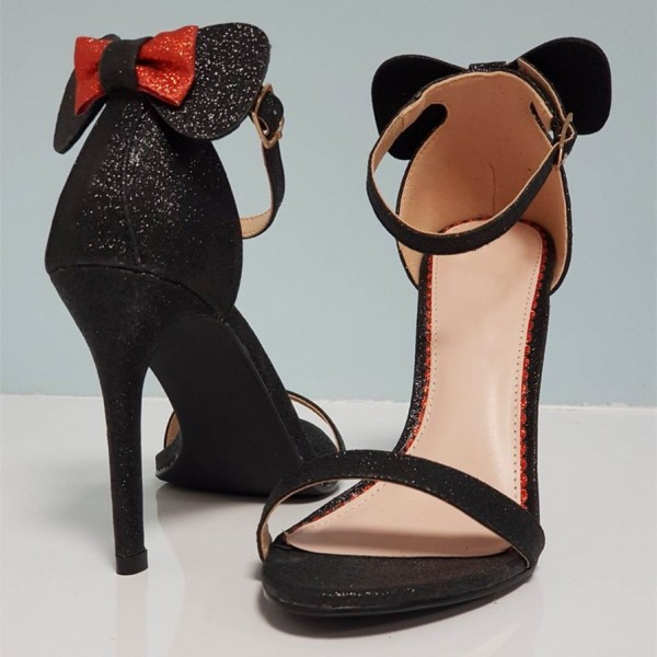 Black Glitter Bow Ankle Strap Sandals Stiletto Heel Open Toe Sandals image 1