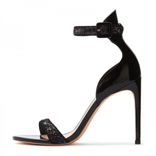 Black Glitter Stiletto Heel Ankle Strap Sandals image 2