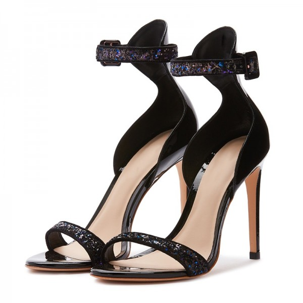 Black Glitter Stiletto Heel Ankle Strap Sandals image 1