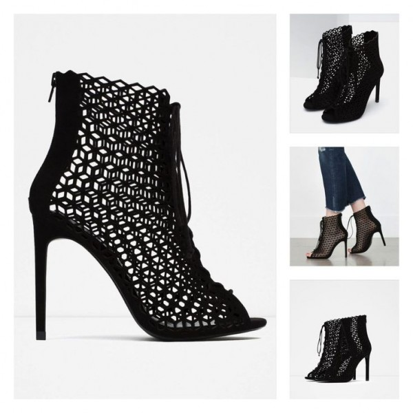 Black Laser cut Lace up Heels Peep Toe Hollow out Summer Boots image 2