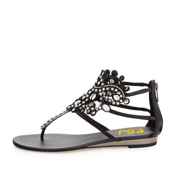 Black Low Heel Jeweled Sandals image 3