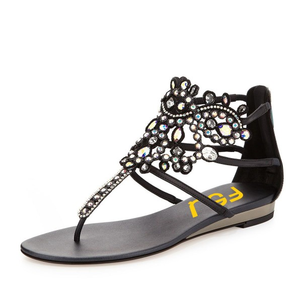 Black Low Heel Jeweled Sandals image 1