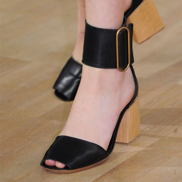 Retro Black Chunky Heels Sandals Peep Toe Buckle Ankle Strap Sandals image 1