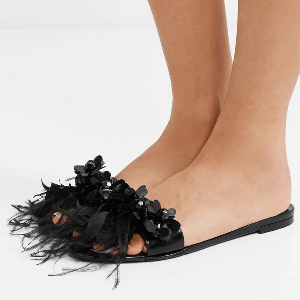 Black Patent Leather Flower Feather Women's Slide Sandals image 1