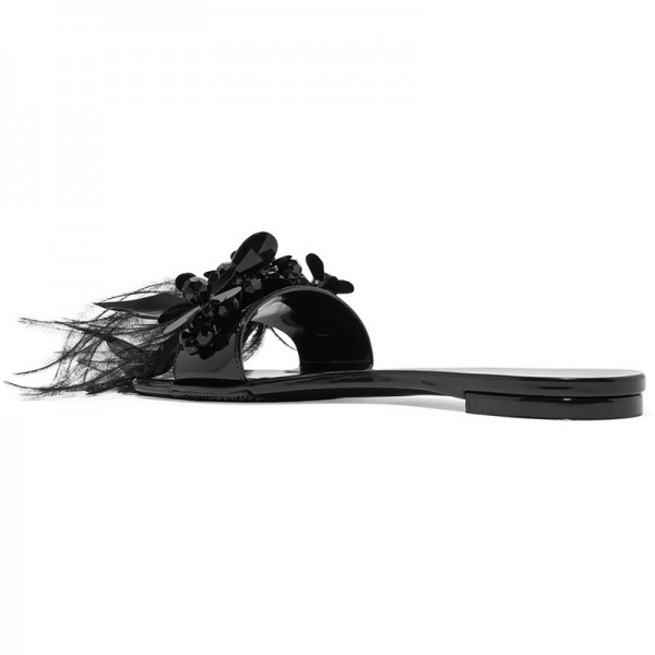Black Patent Leather Flower Feather Women's Slide Sandals image 2