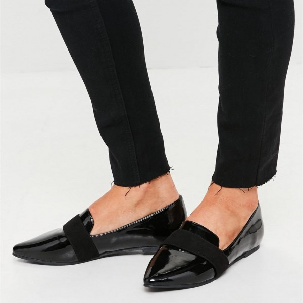 Black Patent leather Loafers for Women