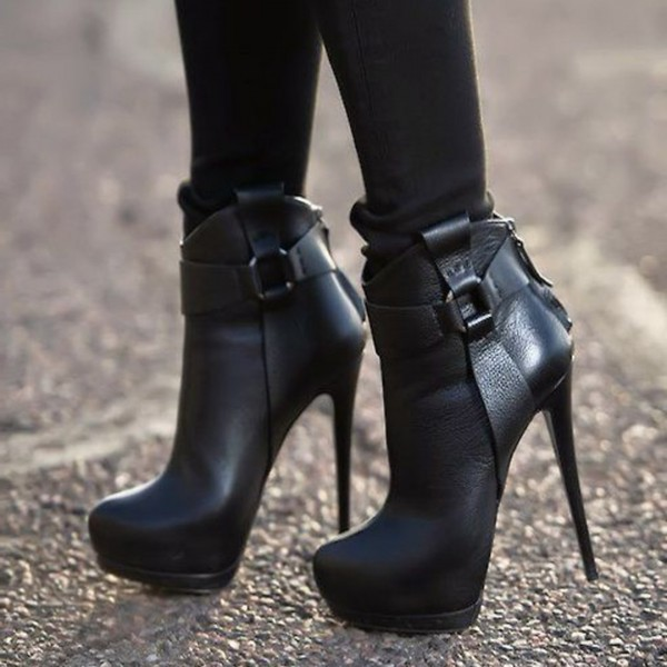 Black Platform Boots Stiletto Heels High Heel Shoes Fashion Boots image 1