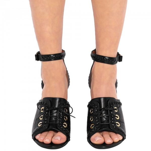 Black Python Lace up Open Toe Chunky Heel Sandals Ankle Strap Sandals image 2