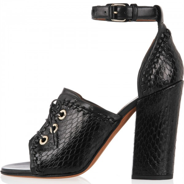 Black Python Lace up Open Toe Chunky Heel Sandals Ankle Strap Sandals image 1